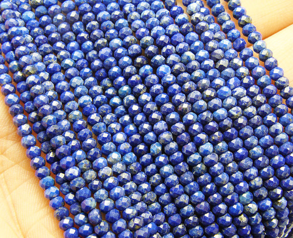 "2x3mm 15.25"" Finely Cut Lapis Faceted Rondelle"