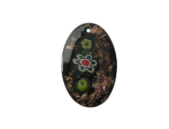 32x43mm Black Murano Style Oval Pendant