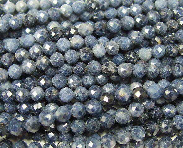 3mm 16 Inches Finely Cut Sapphire Faceted Round Beads