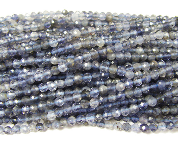 3mm Finely cut iolite faceted round beads
