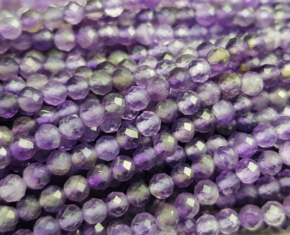 3mm Finely Cut Amethyst Faceted Round Beads