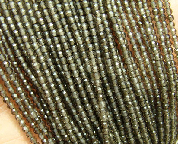 "3mm 15.5"" Finely Cut Smoky Quartz Faceted Round Beads"