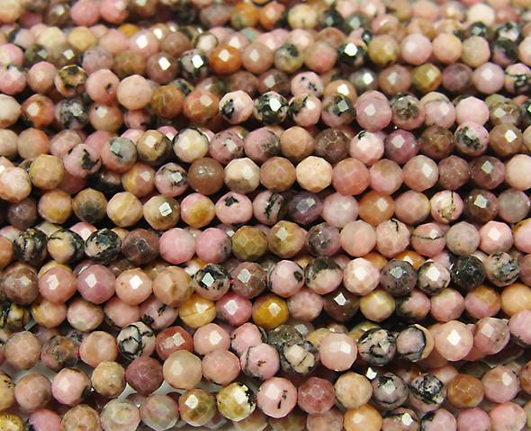 4mm Finely cut matrix rhodonite round beads