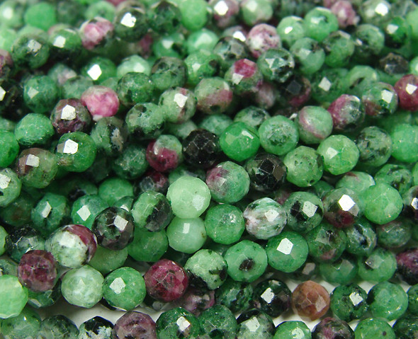 4.2mm Finely cut ruby zoisite round beads