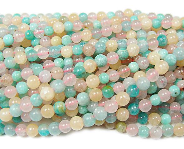 4mm 15.5 Inches Multi Amazonite Smooth Round Beads