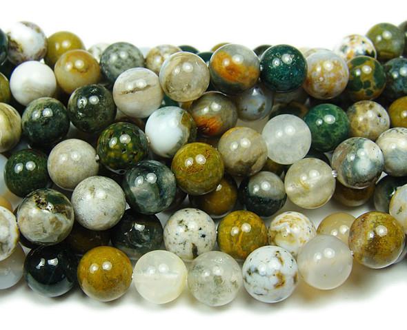 8mm 15.5 Inches Ocean Jasper Smooth Round Beads