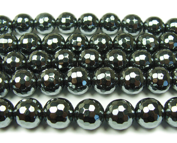 12mm Iron gray hematite faceted round beads
