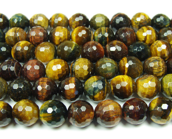 12mm Multi tiger eye faceted round beads