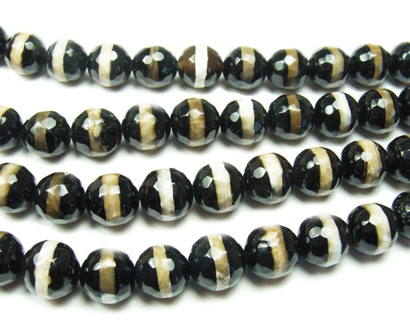 10mm Tibetan Style White Line Black Faceted Beads