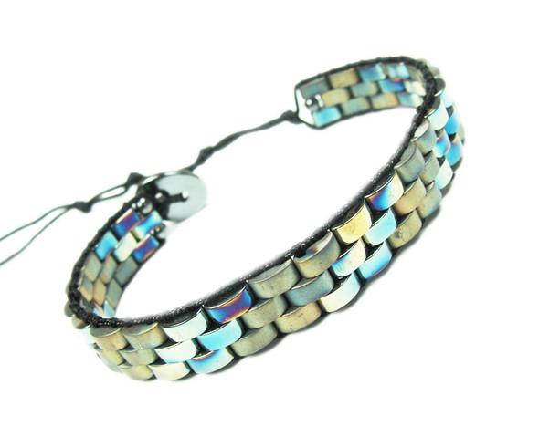 Beige Hematite Fashion Band Bracelet