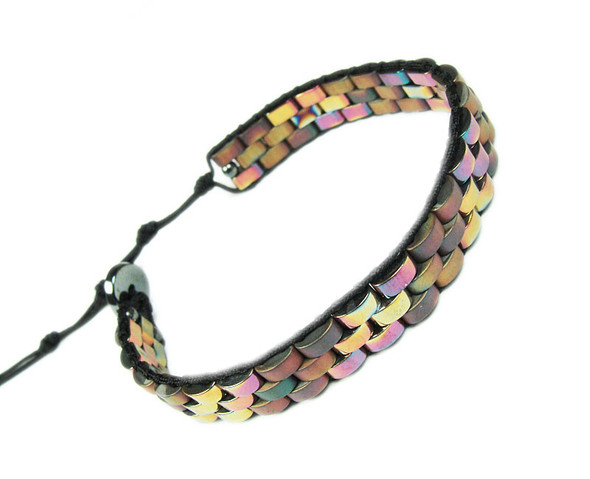 Multi Color Hematite Fashion Band Bracelet