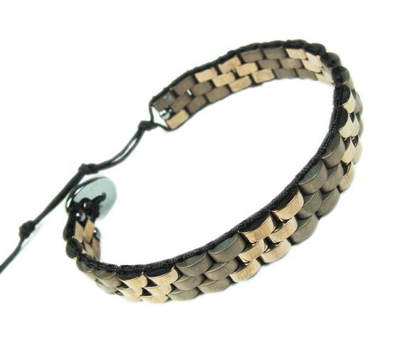 Light Brown Hematite Fashion Band Bracelet