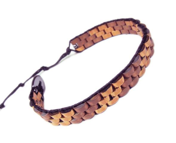 Dark Brown Hematite Fashion Band Bracelet