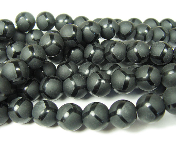 8mm  15.5 inches Black matte Tibetan style soccer beads