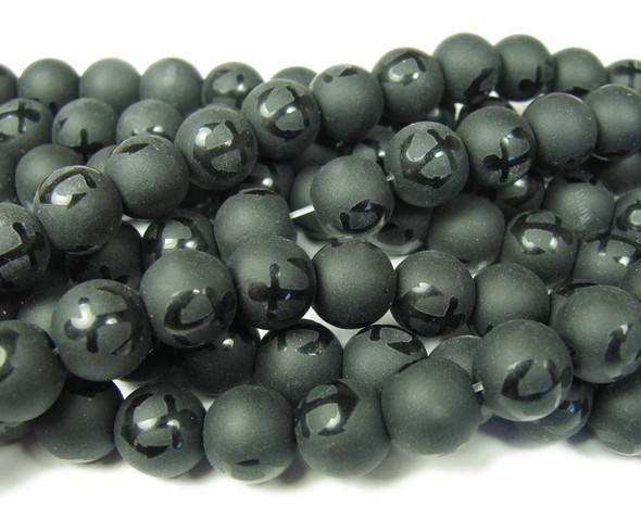 8mm  15.5 inches Black matte Tibetan style anchor beads
