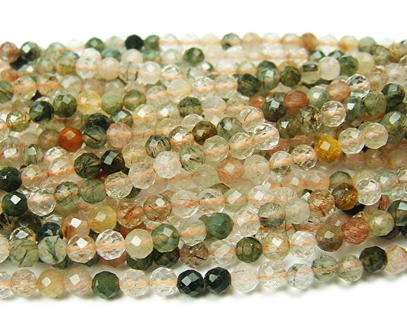 4mm 15.5 Inches Finely Cut Multi Rutilated Quartz Beads