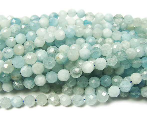 5mm 15.5 Inches Finely Cut Aquamarine Beads