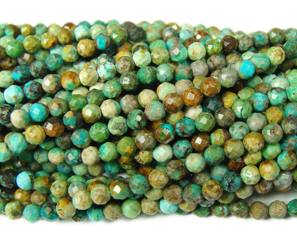 3mm  15.5 inches Finely cut Chinese turquoise beads