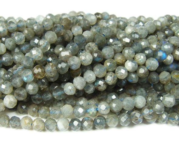 4-4.3mm Finely cut labradorite round beads