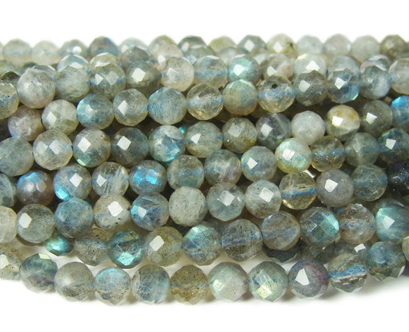 6mm Finely cut labradorite round beads
