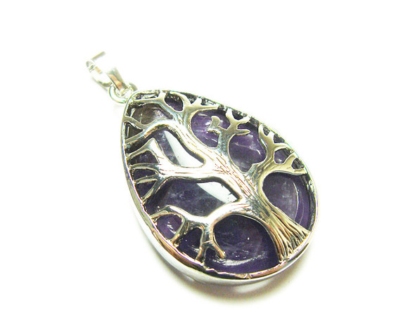 25x35mm Amethyst Tree Of Life Teardrop Pendant