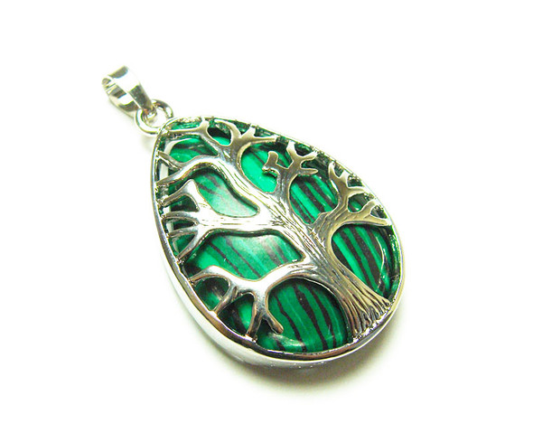 25x35mm Malachite Tree Of Life Teardrop Pendant