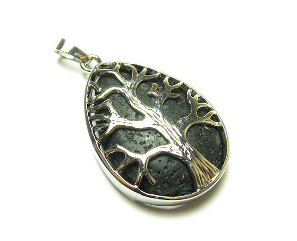25x35mm Black Lava Tree Of Life Teardrop Pendant