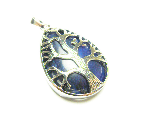 25x35mm Lapis Tree Of Life Teardrop Pendant