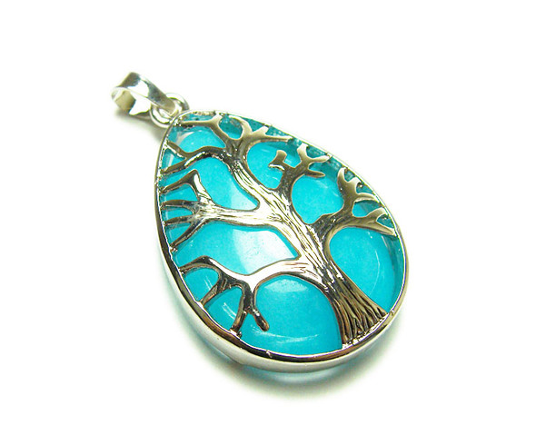 25x35mm Blue Agate Tree Of Life Teardrop Pendant