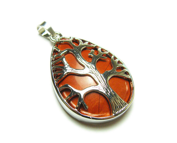 25x35mm Red Jasper Tree Of Life Teardrop Pendant
