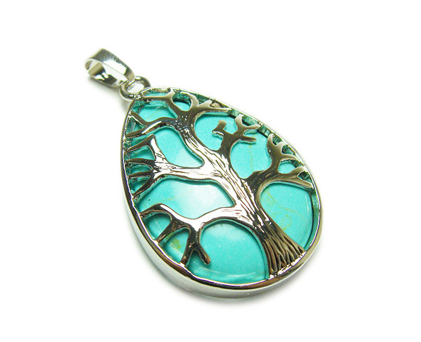 25x35mm Turquoise Howlite Tree Of Life Teardrop Pendant