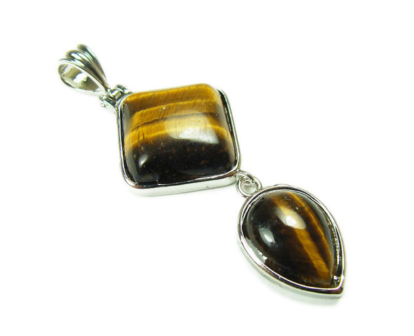 25mm x 55mm Tiger Eye Two Piece Dangling Pendant