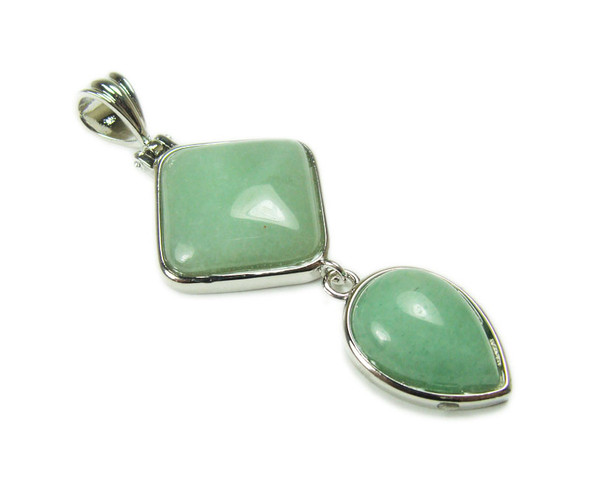 25mm x 55mm Green Aventurine Two Piece Dangling Pendant
