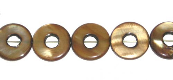 15mm  27 beads Mother of pearl brown puffed circle beads