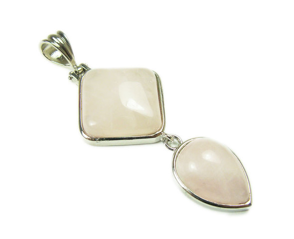 25mm x 55mm Rose Quartz Two Piece Dangling Pendant