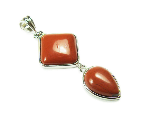 25mm x 55mm Red Jasper Two Piece Dangling Pendant