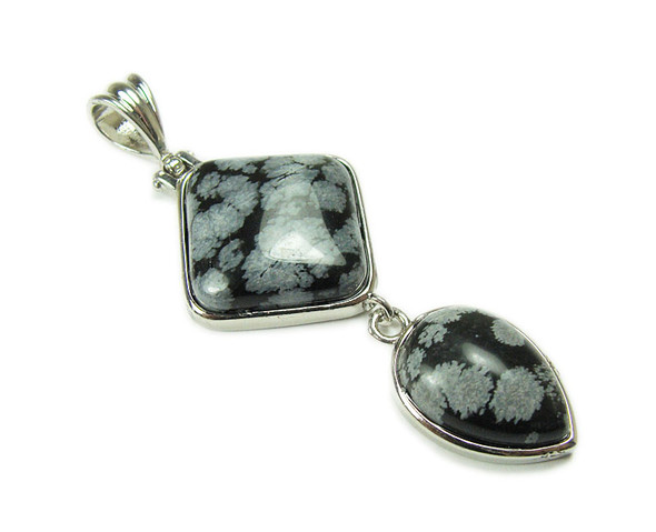 25mm x 55mm Snowflake Obsidian Two Piece Dangling Pendant