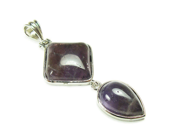 25mm x 55mm Amethyst Two Piece Dangling Pendant