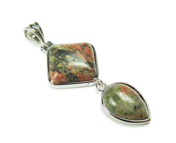25mm x 55mm Unakite Two Piece Dangling Pendant