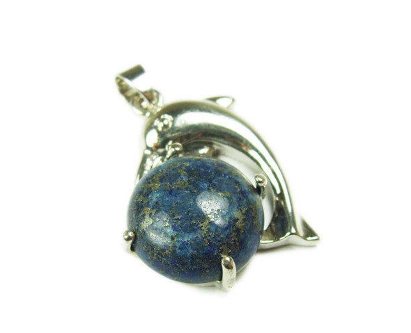 22x30mm Dolphin On Round Lapis Pendant