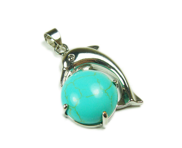 22x30mm Dolphin On Round Turquoise Howlite Pendant
