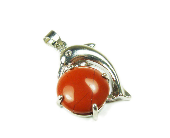 22x30mm Dolphin On Round Red Jasper Pendant