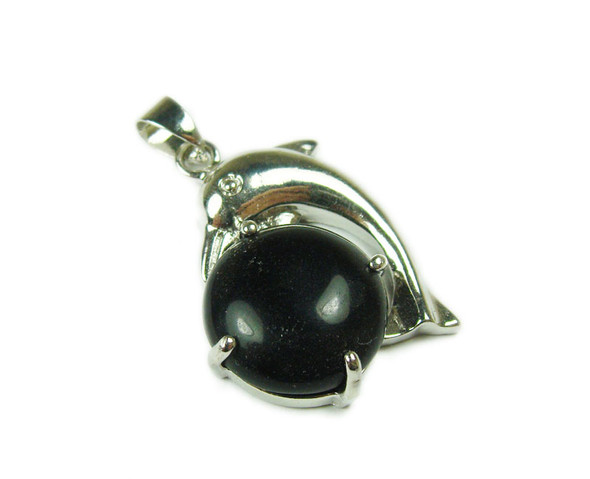 22x30mm Dolphin On Round Black Onyx Pendant