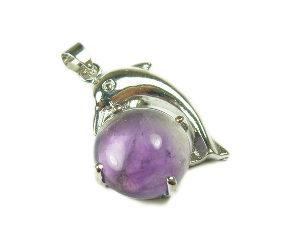 22x30mm Dolphin On Round Amethyst Pendant