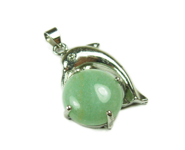 22x30mm Dolphin On Round Green Aventurine Pendant