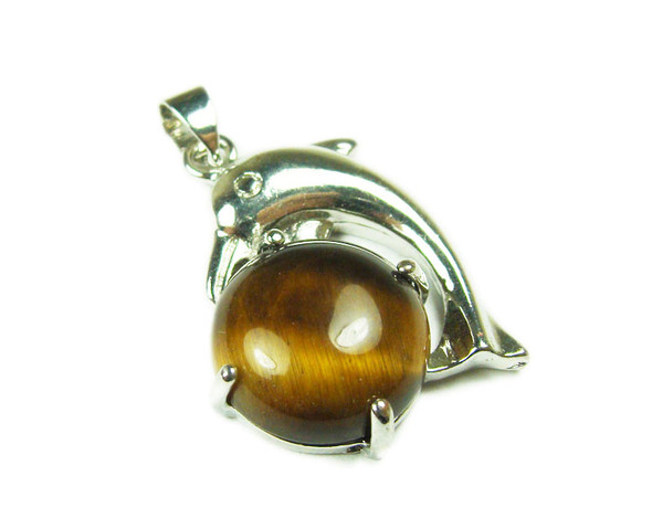 22x30mm Dolphin On Round Tiger Eye Pendant