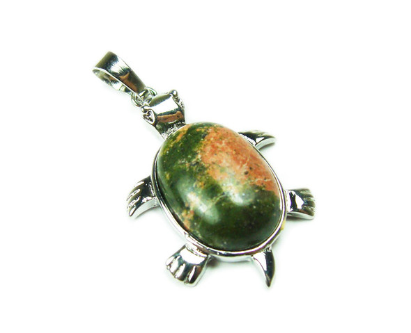 22x30mm Unakite Small Turtle Oval Pendant