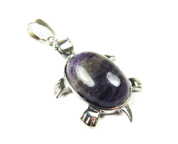 22x30mm Amethyst Small Turtle Oval Pendant