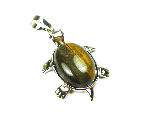 22x30mm Tiger Eye Small Turtle Oval Pendant