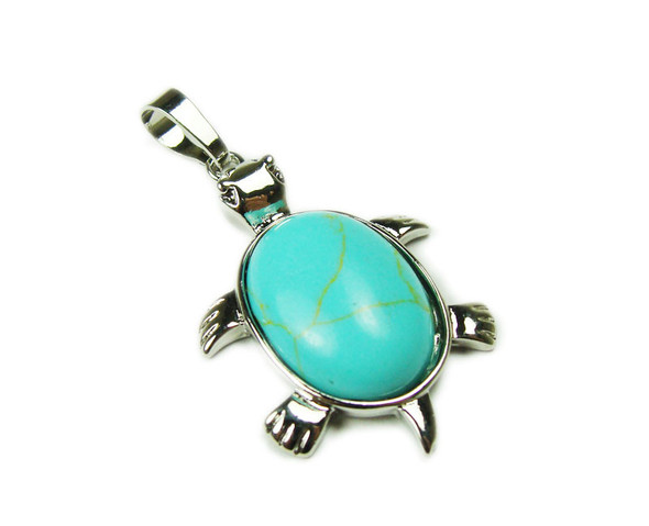 22x30mm Turquoise Howlite Small Turtle Oval Pendant